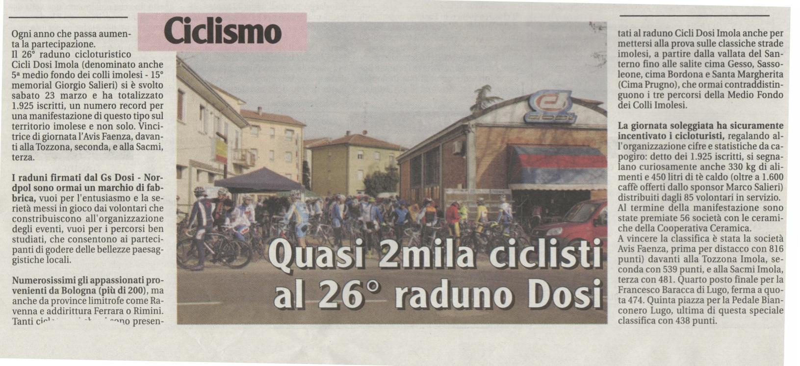 Quasi 2mila ciclisti al 26 raduno Dosi. (il Nuovo Diario Messaggero 26.03.2013)