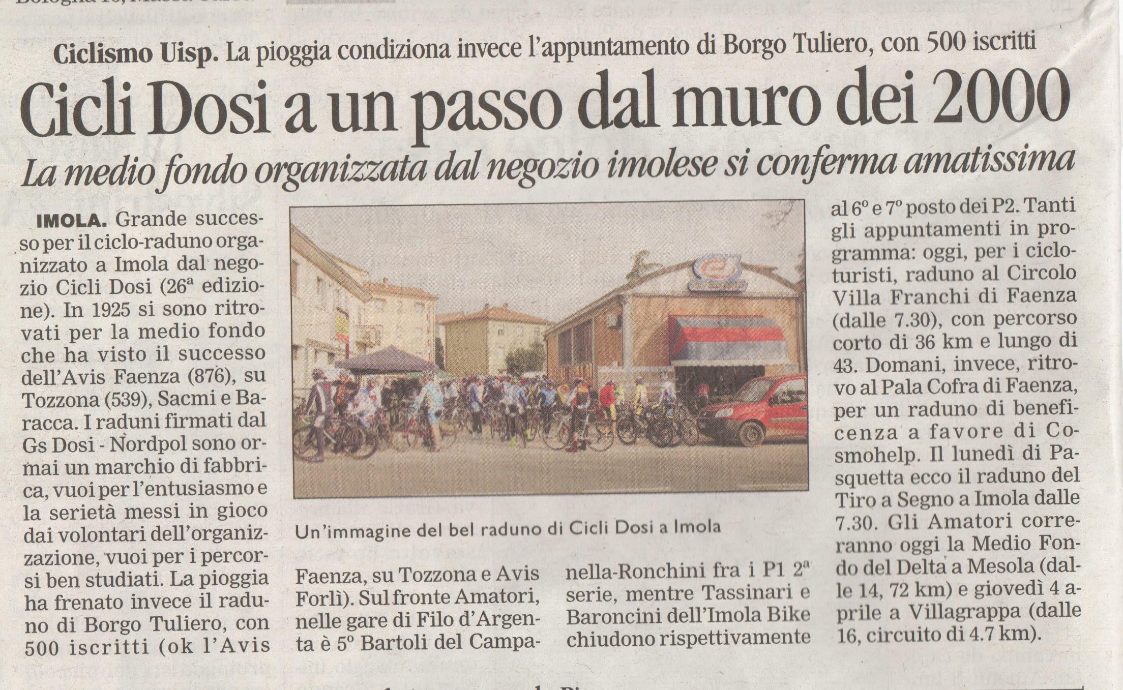 Cicli Dosi a un passo dal muro dei 2000 (Corriere Romagna 28.03.2013)