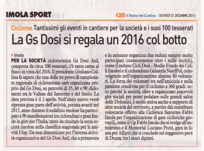 La Gs Dosi si regala un 2016 col Botto (Il Resto del Carlino 31.12.2015)
